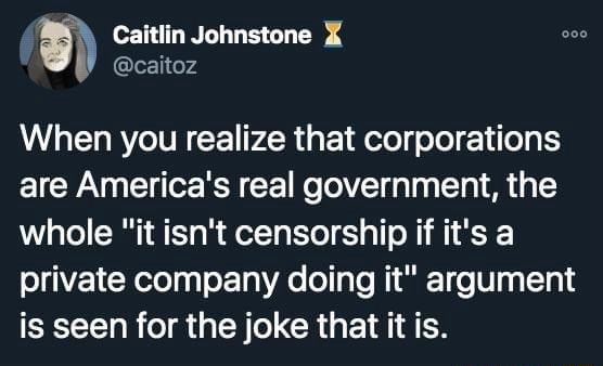 Caitlin Jonnstone When you realize that corporations are America's real government, the whole it isn't censorship if it's a private company doing it argument is seen for the joke that it is meme