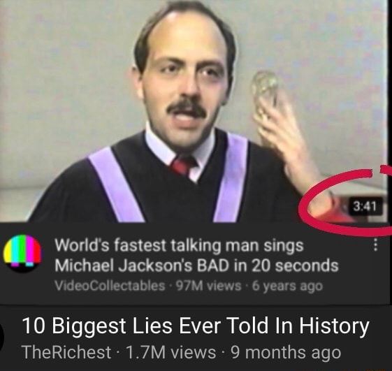 World's fastest talking man sings Michael Vi Jackson's BAD vie in 20 seconds Vi Collec les 10 Biggest Lies Ever Told In History TheRichest 1.7M views 9 months ago memes