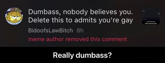Dumbass, nobody believes you. Delete this to admits you're gay we BidoofsLawBitch sh meme author removed this comment Really dumbass Really dumbass