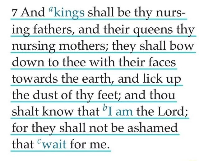 7 And kings shall be thy nurs ing fathers, and their queens thy nursing mothers they shall bow down to thee with their faces towards the earth, and lick up the dust of thy feet and thou shalt know that I am the Lord for they shall not be ashamed that wait for me memes