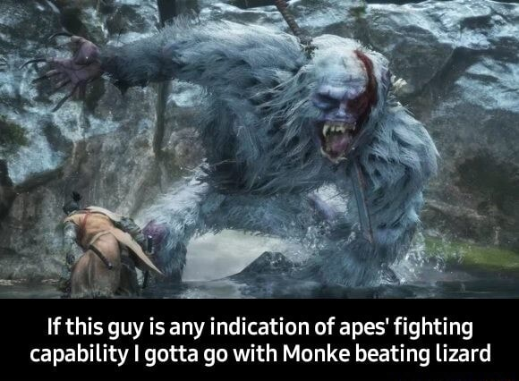 If this guy is any indication of apes fighting capability I gotta go with Monke beating lizard If this guy is any indication of apes fighting capability I gotta go with Monke beating lizard meme