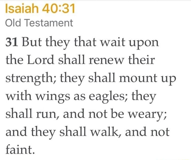 Isaiah Old Testament 31 But they that wait upon the Lord shall renew their strength they shall mount up with wings as eagles they shall run, and not be weary and they shall walk, and not faint memes