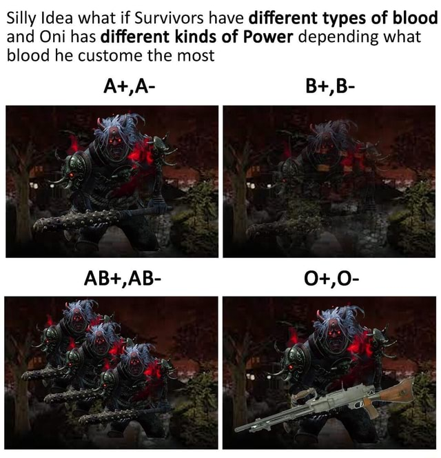 Silly dea what if Survivors have different types of blood and Oni has different kinds of Power depending what blood he custome the most meme