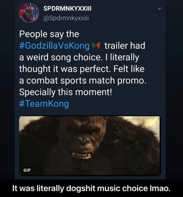 SPDRMNKYXXIII Spdrmnkyxxiii People say the GodzillaVsKong trailer had a weird song choice. I literally thought it was perfect. Felt like a combat sports match promo. Specially this moment TeamKong GIF It was literally dogshit music choice Imao. It was literally dogshit music choice lmao meme