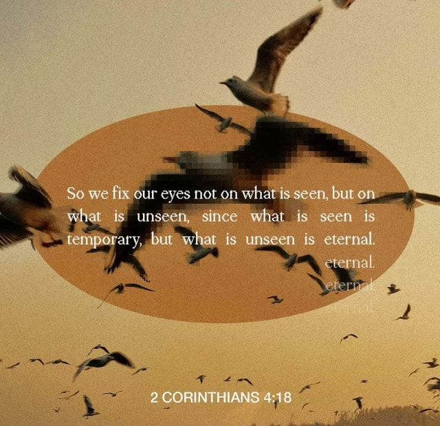 So we fix our eyes not on is seen, but on. is unseen, since what is seen is ary, but what is unseen is eternal. 2 CORINTHIANS 4 meme