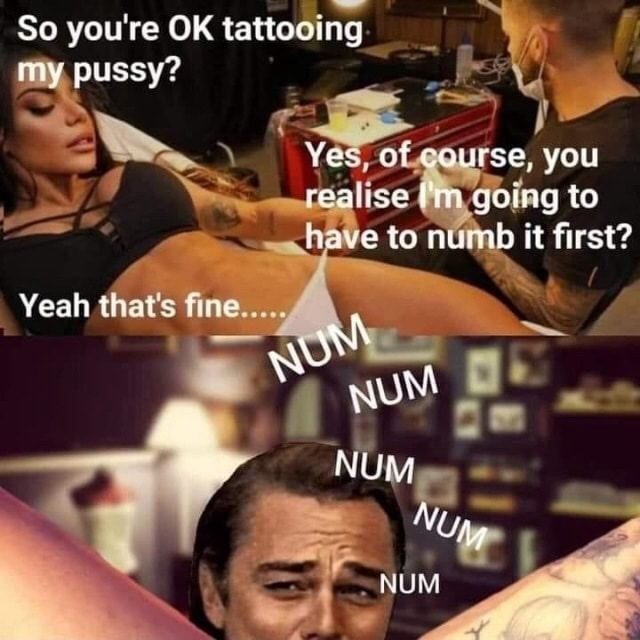 So you're OK tattooing my, pussy Yes, 0 rse, you ig to have to nUmb it first Yeah that's fine meme