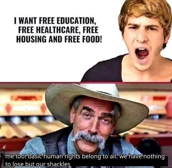 WANT FREE EDUCATION, FREE HEALTHCARE, FREE HOUSING AND FREE FOOD rights belong to all. we have to lose bu meme