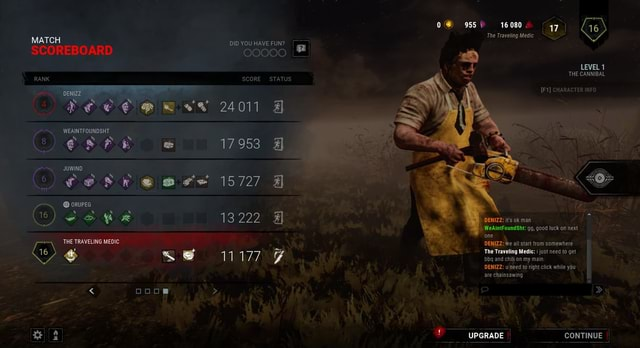 0 955 16080. 47 16 The Traveling Medic DID YOU HAVE FUN MATCH SCOREBOARD O0000 THE CANNIBAL RANK SCORE STATUS CHARACTER INFO 24011 953 15727 ORUPEG Weaintoundht go, good luck on next UPGRADE CONTINUE Cs THE TRAVELING MEDIC DENIZZ We all start from somewhere 6 1 SS 11177 The Traveling Medic just need to get  and  % thy ad chon ry man DENIZZ u need to right click while yau  ooos  I meme