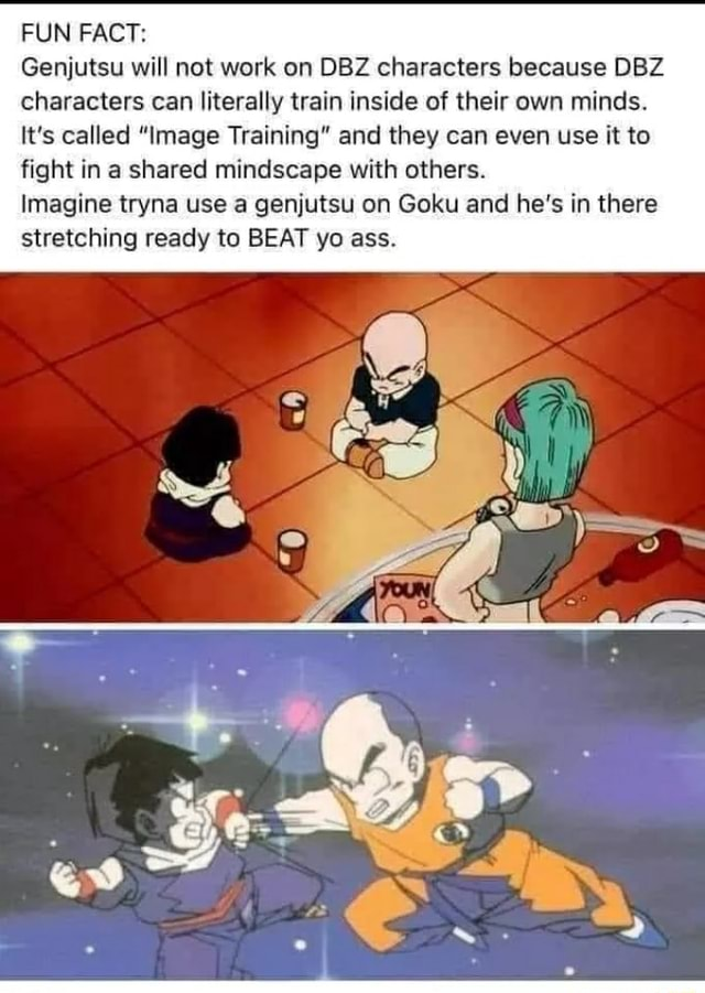 FUN FACT Genjutsu will not work on DBZ characters because DBZ characters can literally train inside of their own minds. It's called Image Training and they can even use it to fight in a shared mindscape with others. Imagine tryna use a genjutsu on Goku and he's in there stretching ready to BEAT yo ass memes