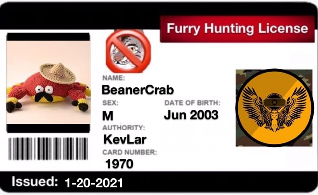 Furry Flunting License OAVE OF KevLar  Issued 1 20 2021 memes