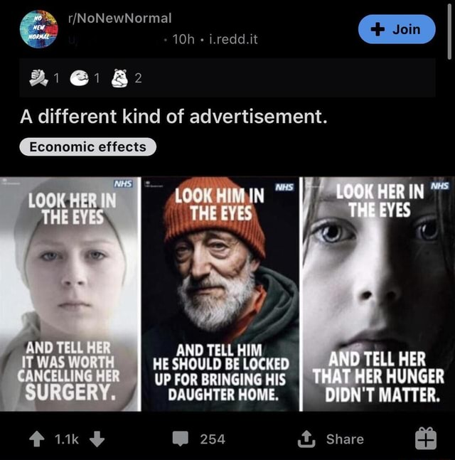 And 1 1 i.redd.it A different kind of advertisement. Economic effects LOOK BVES AND TELL IT WAS WORT CANCELMING HER SURGERY AND TELL HIM HE SHOULD BE LOCKED UP FOR BRINGING HIS DAUGHTER HOME. 254 LOOK HER IN THE EYES AND TELL HUNGER MATTER. Share memes