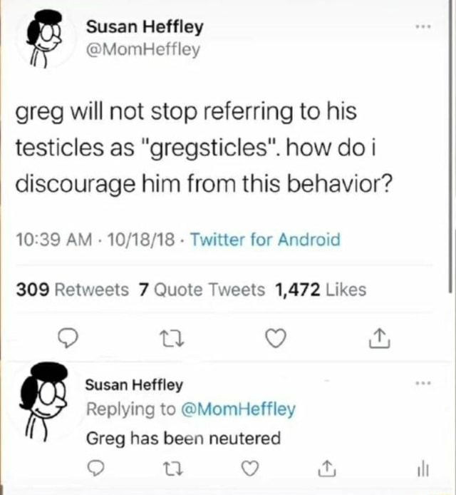 Greg will not stop referring to his testicles as gregsticles . how do discourage him from this behavior AM Twitter for Android Susan Heffley Replying to MomHeffley Greg has been neutered ill meme