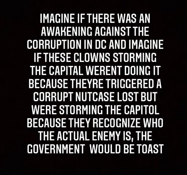 IMAGINE IF THERE WAS AN AWAKENING AGAINST THE CORRUPTION IN DC AND IMAGINE IF THESE CLOWNS STORMING THE CAPITAL WERENT DOING IT BECAUSE THEYRE TRIGGERED A CORRUPT NUTCASE LOST BUT WERE STORMING THE CAPITOL BECAUSE THEY RECOGNIZE WHO THE ACTUAL ENEMY IS, THE GOVERNMENT WOULD BE TOAST meme