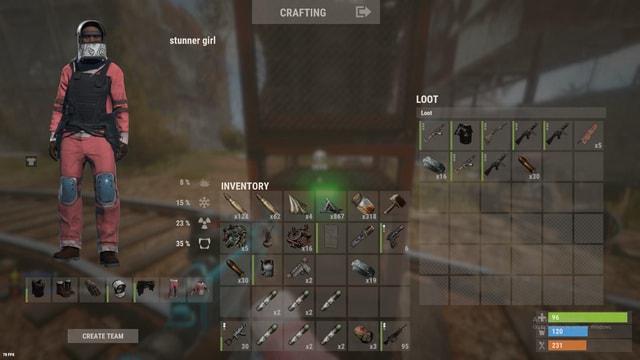 CREATE I CRAFTING stunner girl INVENTORY AS LOOT 230 231 memes