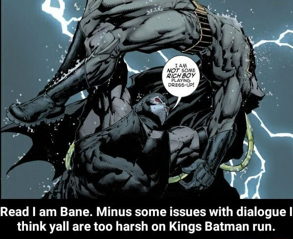 Read I am Bane. Minus some issues with dialogue think yall are too harsh on Kings Batman run. Read I am Bane. Minus some issues with dialogue I think yall are too harsh on Kings Batman run memes