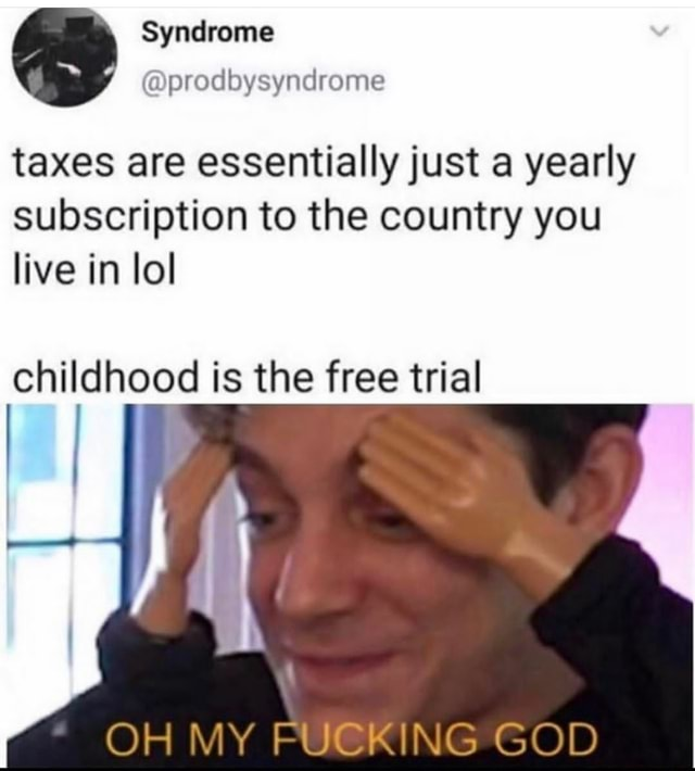 Syndrome taxes are essentially just a yearly subscription to the country you live in lol childhood is the free trial OH MY FUCKING GOD memes