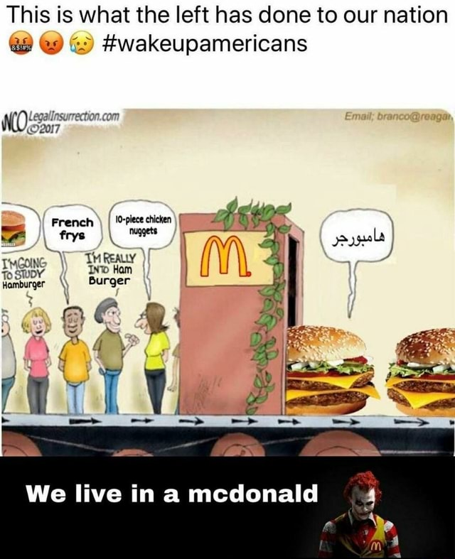 This is what the left has done to our nation and wakeupamericans French I 0 piece chicken frys om ayl Twcone THREALY 4 To SWUDY IN Ham Hamburger Burger We live in mcdonald meme