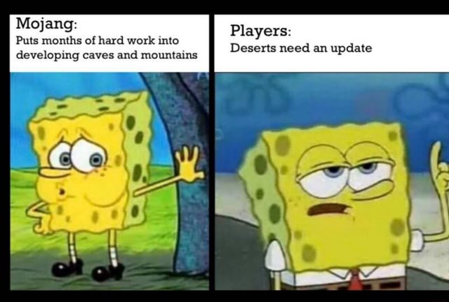 Mojang Puts months of hard work into developing caves and mountains Players Deserts need an update memes
