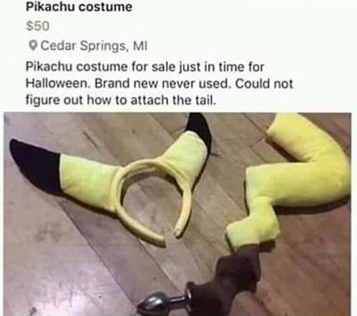 Pikachu costume $50 Cedar Springs, MI achu costume for sale just in time for Halloween. Brand new never used. Could not figure out how to attach the tail memes