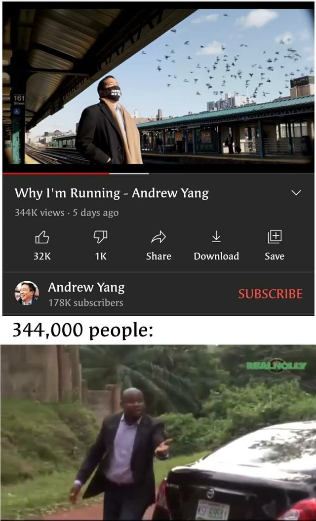 Why I'm Running Andrew Yang 344K views 5 days ago Share Andrew Yang 178K subscribers Share Download Save SUBSCRIBE 344,000 people meme