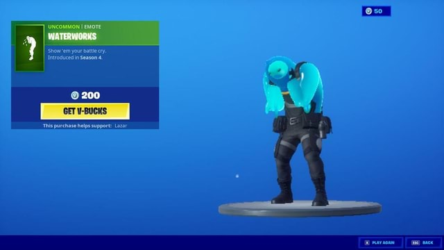 UNCOMMON I EMOTE Show em your battle cry. Introduced in Season 4. 200 This purchase helps support Lazar 50 PLAY AGAIN memes
