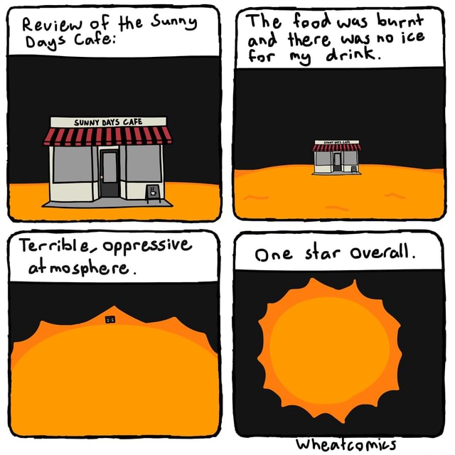 Review of the Sunny The food was burnt Days Cafe and there was no ice for my arink. SUNNY DAYS CAFE Tercible, ot oppressive re. One star Overall ot mosphe re. One stac Overall meme