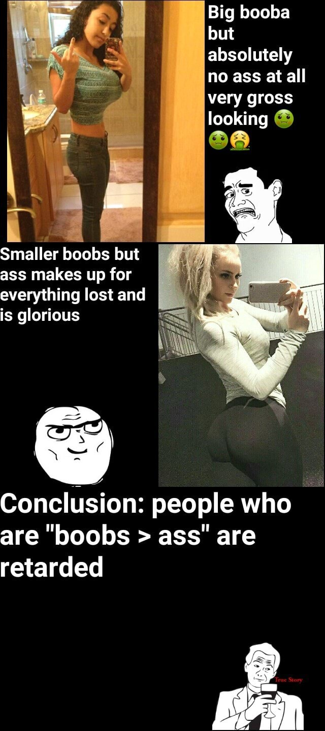 Big booba but absolutely no ass at all very gross looking Smaller boobs but ass makes up for everything lost and is glorious Conclusion people who are boobs ass are retarded memes