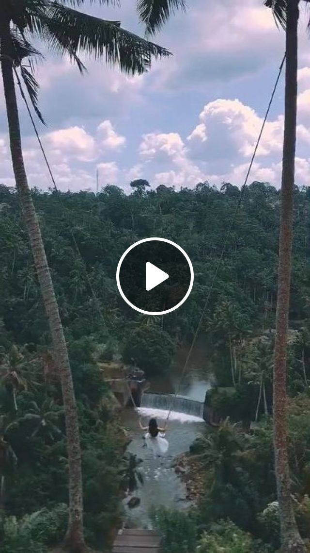 Girl Playing Swing In Resort - Video & GIFs | Nature & Travel, nature, girl, female fashion, resort