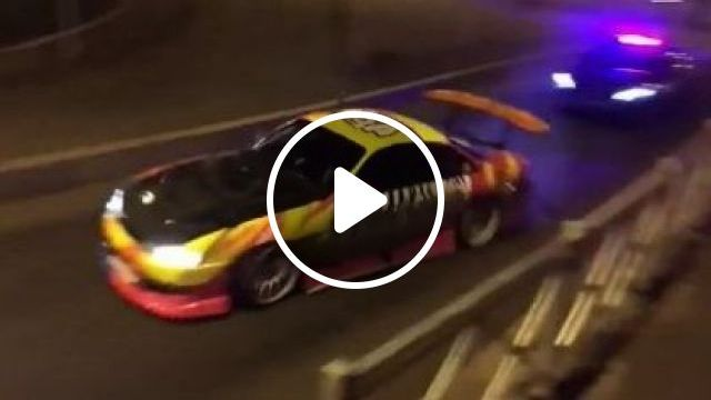 Police car is chasing  sport car in  city - Funny Videos - funnylax.com - auto & technique,sports cars,luxury vehicles,mazda,nissan,silvia,rx7,240,240sx,street
