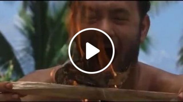 A Man Found Fire On The Beach - Video & GIFs | Nature & Travel, funny, man, fire, ocean, sea, tourists