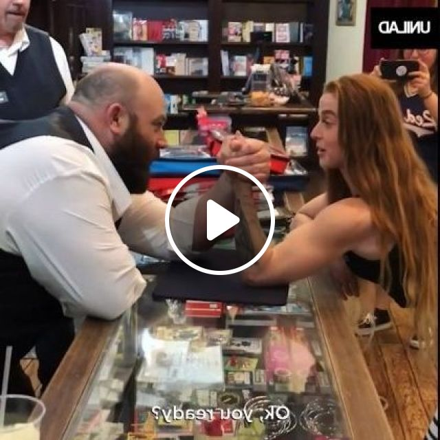 Girl With Very Strong Hands, Very Good Health In Sporting Goods Store - Video & GIFs | Fashion & Beauty, girl, clothes fashion, shops, sports equipment, health, strength
