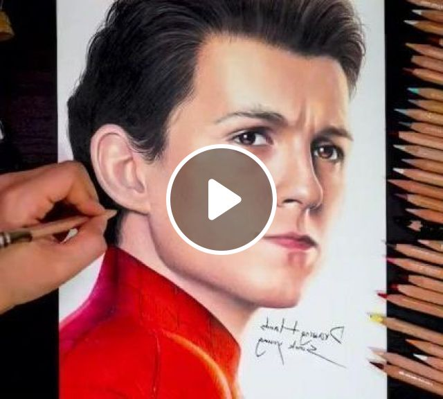 Drawing Spider Man Far From Home - Video & GIFs | art & design, drawing tools, crayons, spiderman, superhero