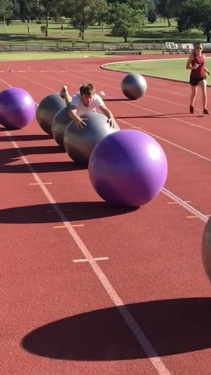 Farthest distance travelled on exercise balls 77.85 m