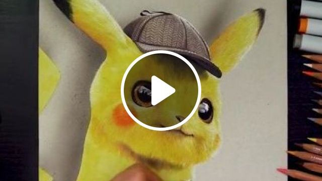 Colored pencil drawing Pokemon Detective Pikachu - Funny Videos - funnylax.com - art & design,drawing tools,crayons,3d paintings