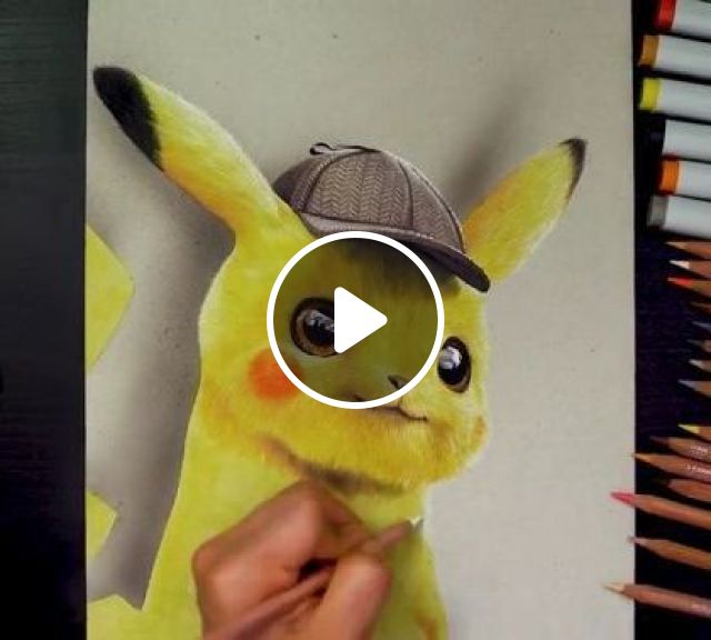 Colored Pencil Drawing Pokemon Detective Pikachu - Video & GIFs | art & design, drawing tools, crayons, 3d paintings