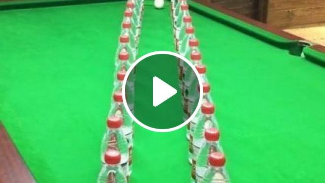 Girl Playing Snooker With A Plastic Bottle - Video & GIFs   sports, snooker, sports clothes
