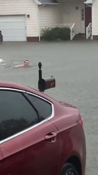 Luxury cars cannot move on flooded street