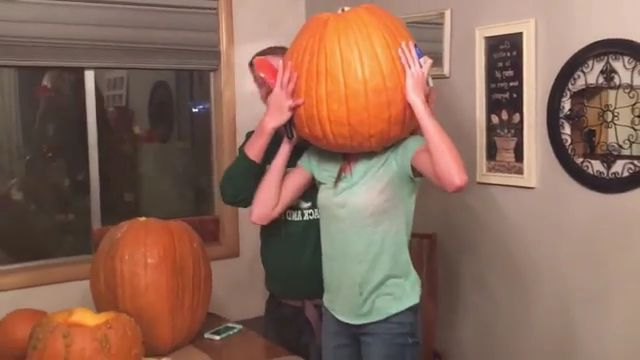 Girl and pumpkin in  kitchen - Funny Videos - funnylax.com - fashion & beauty,girls,men and women fashion,kitchen,kitchen furniture