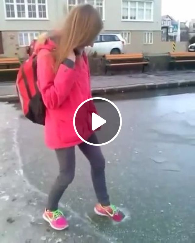 Girl Checking Ice On Lake - Video & GIFs | nature & travel, girls, clothes fashion, fashion shoes, winter