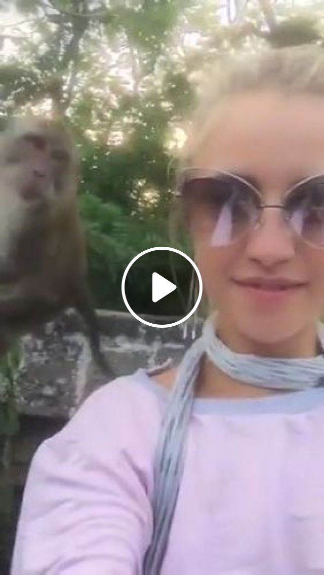 Girl And Monkey In Asian Travel - Video & GIFs | nature & travel, girls, clothes fashion, fashion sunglasses, monkeys, travel, asia
