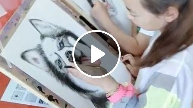 Cute Husky Dogs Are Painted - Video & GIFs   art & design, husky cute, drawing tools