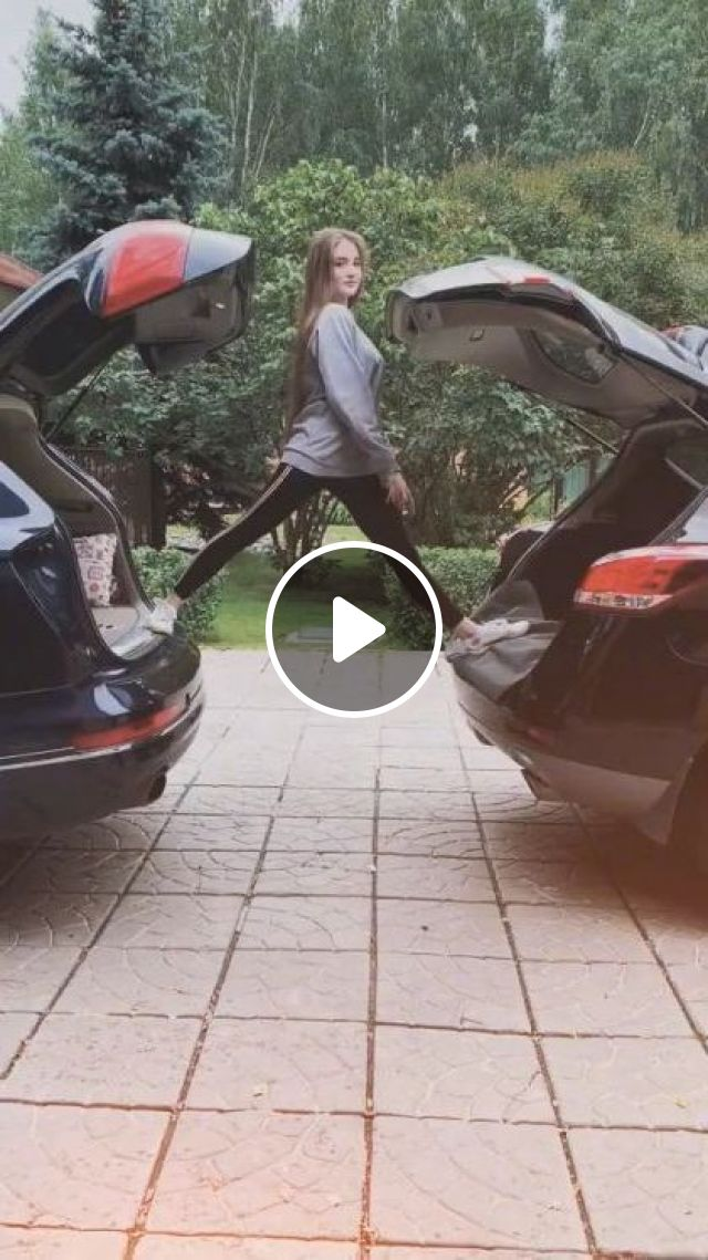 Girl Is Practicing Yoga In Car - Video & GIFs   sports, cute girls, sports clothes, sports shoes, yoga, luxury cars