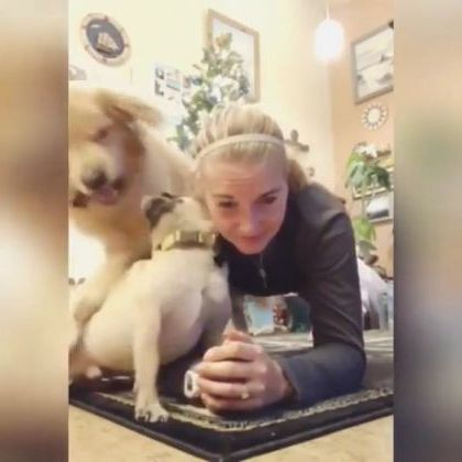 Girl exercising with dog in bedroom