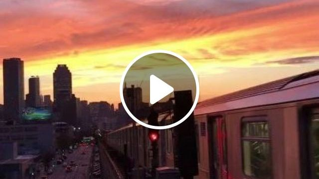 Stunning NYC sunset. No filter. Shot from Queens, Nature & Travel, modern city, train travel, beautiful scenery