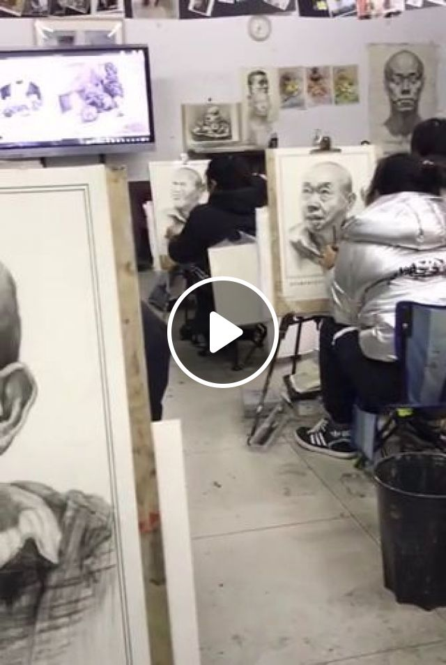Students Are Practicing Painting At School - Video & GIFs | Art & Design, students, practicing, painting, school, education, drawing tools