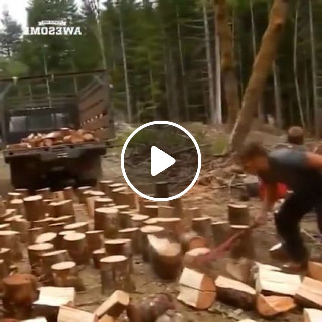 a man chopped wood with an ax, prepared to move onto truck and took it for sale, Auto & Technique, Man, male fashion, wood chopping, ax ax, truck, sale, wood business