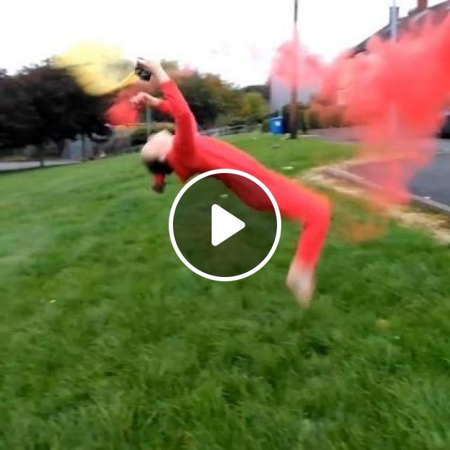 Acrobatic with colored powder, Sports, color powder, sports clothes