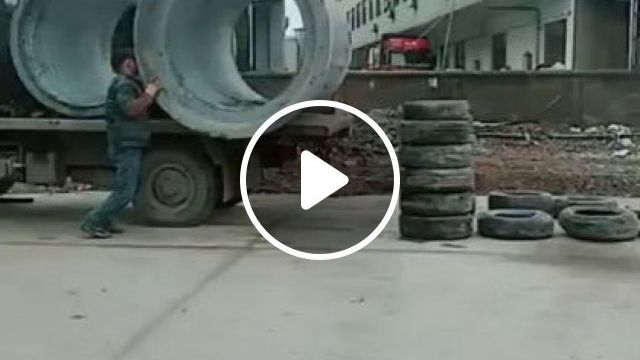 Smart Workers Move Large Culverts On Tractor - Video & GIFs | Auto & Technique, tractor truck, sewer, workers, cargo service, delivery