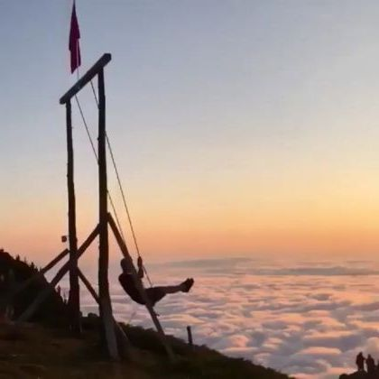 Swing above  clouds in Huber, Yaylasi in Rize province in Turkey - Funny Videos - funnylax.com - Nature & Travel, tourists, beautiful scenery