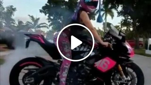 Girl With Fashionable Clothes On Sports Bike - Video & GIFs | Auto & Technique, girl, female fashion, sports motorcycle